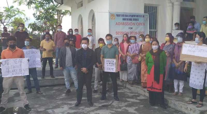 Staffs protest at Pandit Deen Dayal Upadhyay Institute of Agricultural Sciences