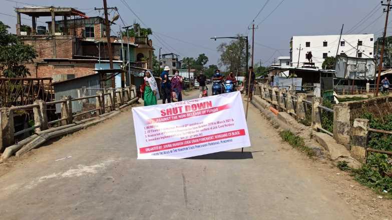 manipur panchayat parishad, protest, IFP Image, MGNREGA, funds